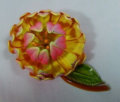 Vtg  Mid Century Pink & Yellow Enamel Flower Highly Dimensional Brooch Pin Evc