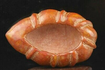 Chinese old natural jade hand-carved statue leaf brush washer 3.2 inch