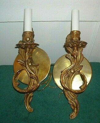Vintage French Style Brass/Gold Wall Sconce Light Fixture  Pair