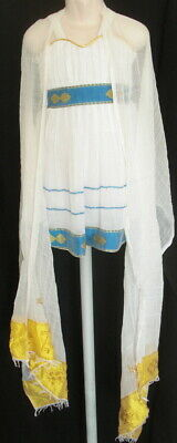 Girl toddler Ethiopian Eritrean Hand woven Traditional dress+shwal size 2 (?)