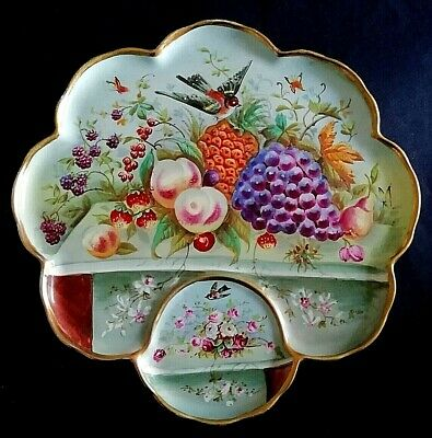 Aynsley Antique Large Hand Painted Sweet Meat Plate c.1905 Manner of J.A Bailey