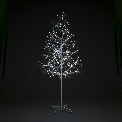 Pre Lit Christmas Tree Silver Wire Twigg Warm/Ice White Led's Combined 3 4 5 6ft