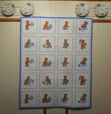 """Finished """"Days of The Week"""" Bear Baby Quilt 35"""" X 44"""""""