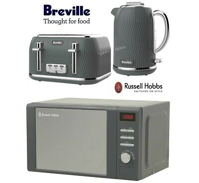 Breville Flow Kettle and Toaster Set with Russell Hobbs Heritage Microwave Grey