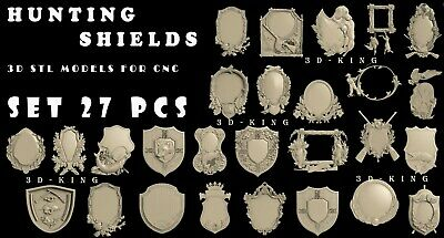 27 PCS 3D STL Models # HUNTING & FISHING SHIELDS# CNC Aspire Engraver 3D Printer