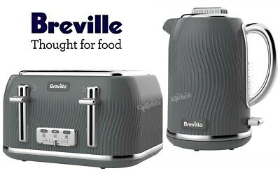 Breville Flow Kettle and Toaster Set Grey Kettle & 4-Slot Toaster - New