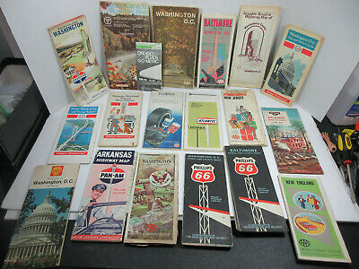 mixed lot 18 gas station travel road maps Shell American Standard Oil Esso AAA