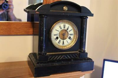 An Antique Wooden Painted Cased German H.A.C Mantel Clock Spares Or Repairs