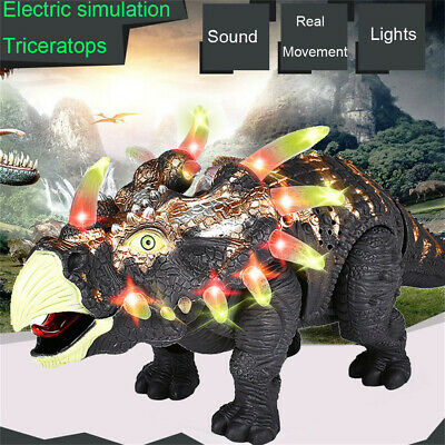 Walking Triceratops Dinosaur Figure With Lights Sounds Real Movement Kids Toy