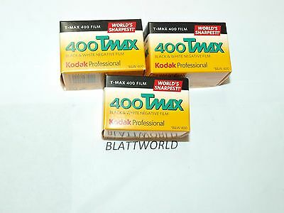 New 3 Rolls of Kodak TMAX TMY 400 24 Exposure Black & White Film Exp March 2020
