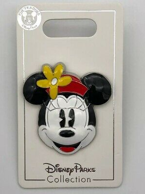 Disney Parks Trading 3D Pin Minnie Mouse Classic Smile Face Flower Red Hat