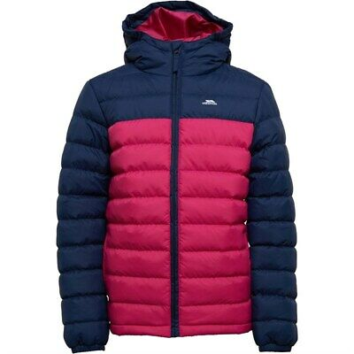 Authentic Trespass Girls Oskar Padded Hooded Jacket Navy/Pink Lady