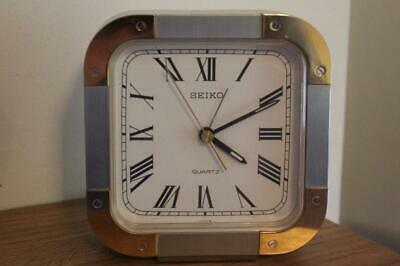 Brushed Silver & Gold Coloured Seiko Mantel Clock Quartz Movement Working Order