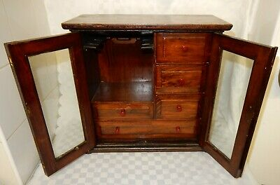 Antique Mahogany Pipe Smokers Cabinet with Glazed Doors