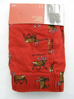 Men's Boxer Shorts New Deer Sm 28-30 Merona Slim Fit 100% Cotton Stocking Stuffe