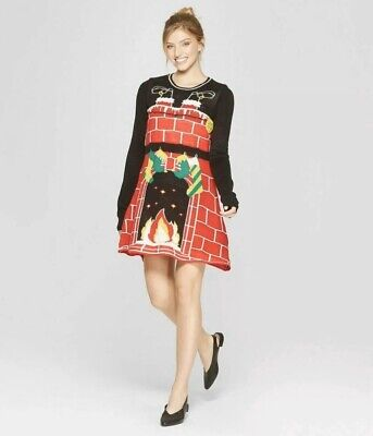 Womens Ugly And Cute Light Up Christmas Fireplace Sweater Dress Size S