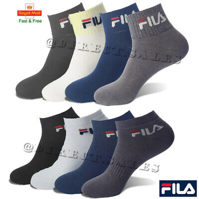 FILA Mens Womens Sports Trainer Socks Cushioned Ankle Low Cut Invisible 6-11 Lot