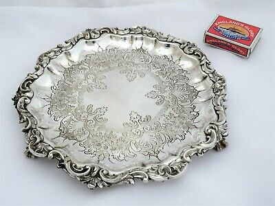 Fine Antique Silver Plated Waiter Tray 1870'S By John Sherwood