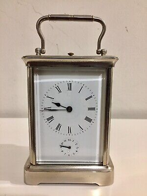 Vintage French Silver Plated Gong Striking Alarm Repeater Carriage Clock