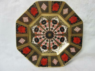 """Royal Crown Derby Old Imari 1128 Octagonal 9"""" Plate Solid Gold Band c2002"""