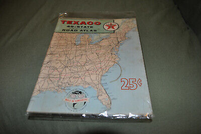 VINTAGE 1959 Texaco Oil 49 State Rand McNally Road Atlas Map Book- 48 pg NR!!