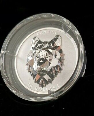 Canada Silver Coin Wolf Multifaceted 2019 $25 Only 2500 Made .999 Pure Silver