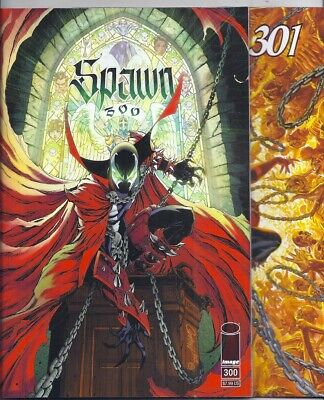 IMAGE COMICS SPAWN #300 CAMPBELL AND #301 ALEX ROSS TRADE DRESS COVERS McFARLANE