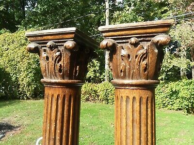 "Antique Fluted Oak Columns Architectural Post W/ Carved Capitals 44"" Pillars Old"