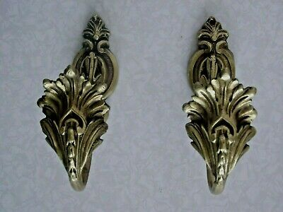 Pair Late 19th Century French Antique Ornate Leaf  Brass Tie Back Hooks 1267
