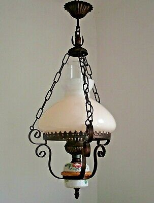 French Country Ceiling Lantern Aged Metal Frame Floral Finial Glass Shade 1148