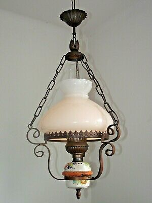 French Country Ceiling Lantern Aged Metal  Frame Floral Finial Glass Shade 1149