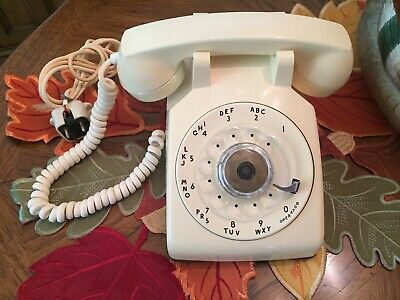Vintage Western Electric Bell System Cd 500 Rotary Dial Desk Phone Ivory/Cream