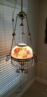 Early 1900's Victorian Chandelier Solid brass Rose Shade Crystal teardrops