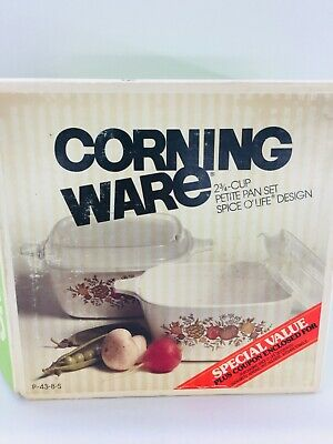 Corning Ware Spice O' Life 2 Petite Pans 2 3/4 Cup With Plastic Lids New NOS