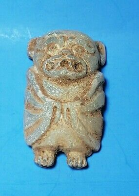 Pre-Columbian Mixtec Alabaster Bat Pendant Mask