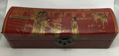 Chinese collection of antique old wood red leather box