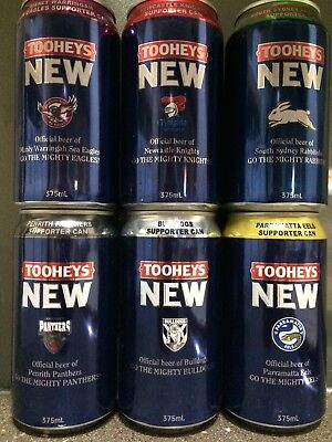 1 Set (6) Tooheys. New Rugby Supporters Beer Cans