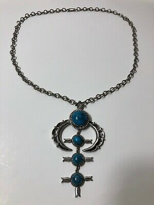 Silver And Turquoise Necklace Costume Jewlery