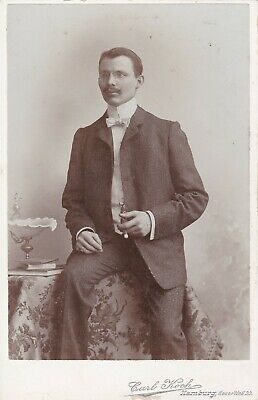 Cabinet Card Great Ad Hamburg,Gentleman Spectacles,Handlebar Mustache,Cigar,