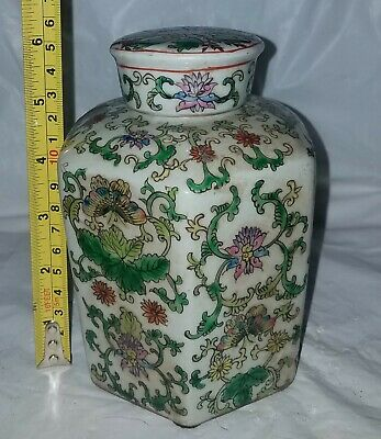 Antique Chinese Porcelain Famile Verte   Tea Storage Jar