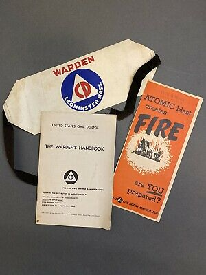 Civil Defense Atomic Warden Armband Leominster MA 1950s Cold War