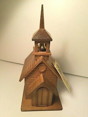 New The Good Co.handcrafted Wooden Church Music Box Amazing Grace Steeplee Bel