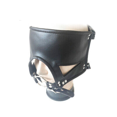 Leather Open Mouth O Ring Gag Head Harness Face Mask Roleplay Couples adjustable