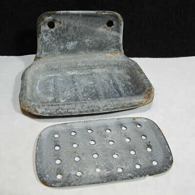 Antique Vintage Grey Enamel Ware Granite 2 Piece Soap Dish Tray Old Cabin Find