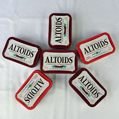 FAST Ship 6 Empty Altoids Metal Tins Storage Crafting Red Peppermint Mints Box