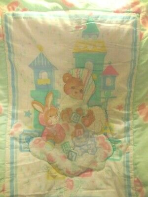 Vintage Reigel Teddy Beddy Bear Friends Crib Comforter Blanket Blue Pink 31 x 42