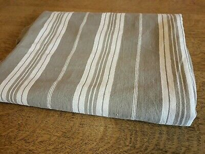 "French Vintage Striped Ticking Fabric Stone and White 59"" x 87"" Slight Fading"