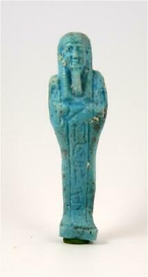 Egypt Late period 28/30th dynasty green-blue faience ushabti