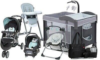 Baby Stroller Travel System with Car Seat Swing High Chair Diaper Bag Playard