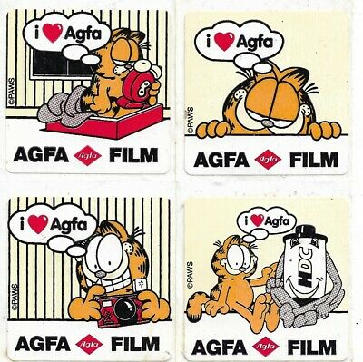 4 x AUTHENTIC Vintage Garfield AGFA Film Stickers 4.5cm x 4.5cm HDC Camera 35mm